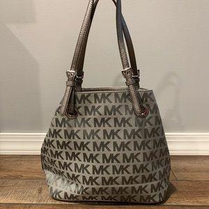 Grey/silver metallic MK tote